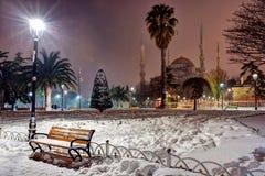 Sultan Ahmet Mosque. Under snow, Istanbul Stock Photos