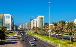 Sultan Bin Zayed The First street in Abu Dhabi Royalty Free Stock Images