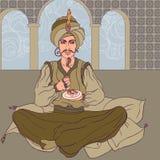 Sultan de conte de fées : Hommes arabes appréciant les bonbons est Image stock