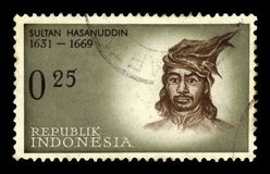 Sultan Hasanuddin, indonesian national hero. INDONESIA-CIRCA 1961: A stamp printed in Indonesia shows portrait by Sultan Hasanuddin, indonesian national hero stock photos