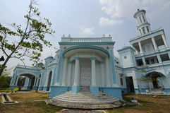Sultan Ismail Mosque in Muar. JOHOR, MALAYSIA – JANUARY, 2014: Sultan Ismail Mosque also known as Muar 2nd Jamek Mosque is next to Tanjung Agas, Muar stock image