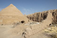The reservoir and fortress walls Ghal`eh Jalali in Kashan city, Iran Royalty Free Stock Photo