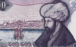 Sultan Mehmed II o retrato do conquistador no turco uma proibição de 1000 liras Fotografia de Stock Royalty Free