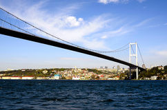 Sultan Mehmet Bridge, Istanbul, Turkey. View from Strait Bosphorus Royalty Free Stock Photography