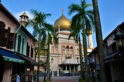 Sultan Mosque, palm trees and Arab Street Singapore Royalty Free Stock Photography