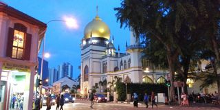 Sultan Mosque, Singapore. Street View of the iconic Sultan Mosque in Singapore stock image