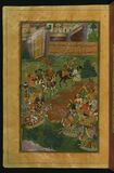 Sultan Muḥammad Vays offers Babur a healthy horse to replace his ailing one, from Illuminated manuscript Baburnama (Memoirs Royalty Free Stock Photography