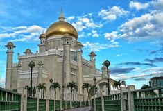 Sultan Omar Ali Saifuddien Mosque. Architecture History Monument Stock Photos