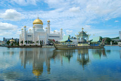 Sultan Omar Ali Saifuddien Mosque in Brunei. The white golden-domed Sultan Omar Ali Saifuddien Mosque in Bandar Seri Begawan, the capital of Brunei, on the Stock Image