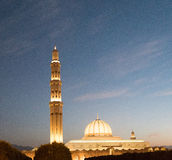 Sultan Qaboos Grand mosque. At dusk, Muscat, Oman Royalty Free Stock Photos