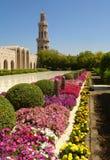 Sultan Qaboos Grand Mosque, Exterior,Minaret. Fantastic Sultan Qaboos Grand Mosque, MUSCAT – OMAN Back Yard Exterior, Summer, Daylight stock photography