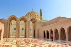 Sultan Qaboos Grand Mosque in Muscat, Oman royalty free stock photography