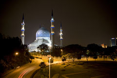 Sultan Salahuddin Abdul Aziz Shah Mosque. Night image of Sultan Salahuddin Abdul Aziz Shah Mosque or commonly known as the Blue Mosque, located at Shah Alam Royalty Free Stock Image