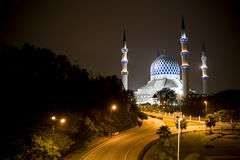 Sultan Salahuddin Abdul Aziz Shah Mosque. Night image of Sultan Salahuddin Abdul Aziz Shah Mosque or commonly known as the Blue Mosque, located at Shah Alam Royalty Free Stock Photo