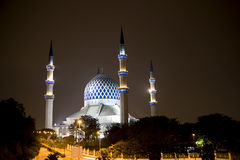 Sultan Salahuddin Abdul Aziz Shah Mosque. Night image of Sultan Salahuddin Abdul Aziz Shah Mosque or commonly known as the Blue Mosque, located at Shah Alam Royalty Free Stock Photos