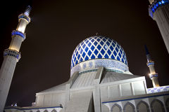 Sultan Salahuddin Abdul Aziz Shah Mosque. Night image of Sultan Salahuddin Abdul Aziz Shah Mosque or commonly known as the Blue Mosque, located at Shah Alam Stock Image