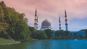 The Sultan Salahuddin Abdul Aziz Shah Mosque. Is the state mosque of Selangor, Malaysia. It is located in Shah Alam. It is the country's largest mosque and Royalty Free Stock Photos