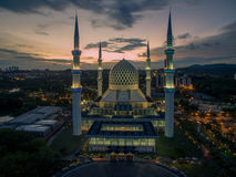 Sultan Salahuddin Abdul Aziz Shah Mosque, Shah Alam, Selangor, Malaysia.  Royalty Free Stock Images