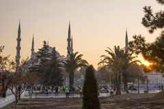 Sultanahmet或蓝色清真寺,伊斯坦布尔,土耳其 免版税库存图片