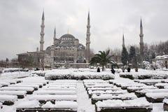 Sultanahmet清真寺 蓝色清真寺冬天 库存照片