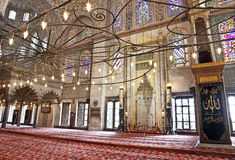 Sultanahmet蓝色清真寺内部 免版税库存照片