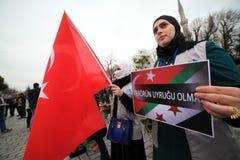 Sultanahmet攻击的抗议 免版税库存照片