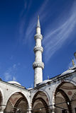 Sultanahmet Blue Mosque - inner court and minaret. Sultanahmet Mosque (Ottoman Imperial mosque) interior ornate architecture in Istanbul, Turkey Stock Image