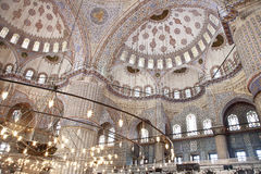 Sultanahmet Blue Mosque interior. Sultanahmet Mosque (Ottoman Imperial mosque) interior ornate architecture in Istanbul, Turkey Royalty Free Stock Photos