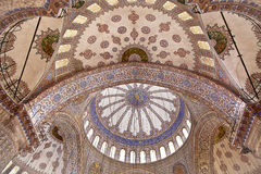 Sultanahmet Blue Mosque interior - dome. Sultanahmet Mosque (Ottoman Imperial mosque) interior ornate architecture in Istanbul, Turkey Royalty Free Stock Image