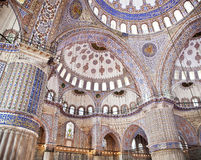 Sultanahmet Blue Mosque interior - dome. Sultanahmet Mosque (Ottoman Imperial mosque) interior ornate architecture in Istanbul, Turkey Stock Images