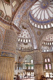 Sultanahmet Blue Mosque interior - dome. Sultanahmet Mosque (Ottoman Imperial mosque) interior ornate architecture in Istanbul, Turkey Royalty Free Stock Photo