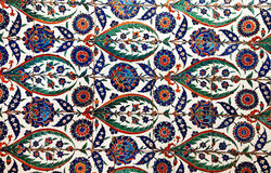Sultanahmet Blue Mosque interior - tiles. Sultanahmet Mosque (Ottoman Imperial mosque) interior ornate architecture in Istanbul, Turkey Royalty Free Stock Images