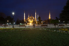 Sultanahmet Blue Mosque at night Royalty Free Stock Images