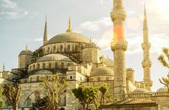 Άποψη του μπλε μουσουλμανικού τεμένους (Sultanahmet Camii) στη Ιστανμπούλ Στοκ εικόνα με δικαίωμα ελεύθερης χρήσης