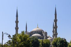 Άποψη του μπλε μουσουλμανικού τεμένους Sultanahmet Camii στη Ιστανμπούλ, Τουρκία Στοκ εικόνα με δικαίωμα ελεύθερης χρήσης