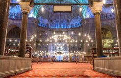 Sultanahmet Camii (Blue Mosque),Istanbul. Interior of the Sultanahmet Mosque (Blue Mosque) in Istanbul Royalty Free Stock Photo