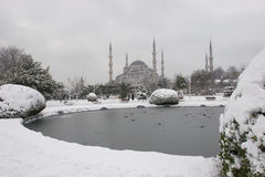 Sultanahmet Mosque. Blue Mosque in winter Royalty Free Stock Images