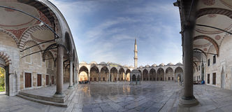 Sultanahmet Mosque courtyard. Panoramic view of Sultanahmet (Blue) Mosque courtyard (Istanbul, Turkey Royalty Free Stock Images