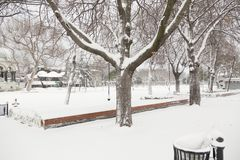 Sultanahmet Park during a snow storm. In winter time in Istanbul ,Turkey Stock Images