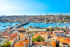Sultanahmet Skyline, Istanbul, Turkey. Sultanahmet Skyline from Galata Tower, Istanbul. Turkey royalty free stock photos