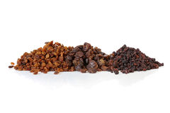 Sultanas, Raisins and Currants. Isolated on white with soft shadow.  Delicious dried fruits, ready for your recipe Royalty Free Stock Images