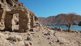 Sultanate of Oman, Musandam peninsula, Gulf of Oman, ancient Village of Haffa stock footage