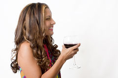 Attractive Brunette With A Glass Of Wine Stock Images