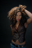 Sultry exotic African American woman with big hair and red lips. Sultry exotic African American woman with big hair and beautiful red lips against a dark Royalty Free Stock Photos