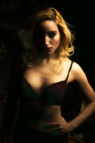 Sultry Portrait of Sexy Blonde Woman in Dark Mood Lighting Stock Image