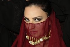 Sultry Woman. A seductive woman looking from beneath her veil Royalty Free Stock Images