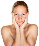 Sultry Woman Holding Face Stock Images