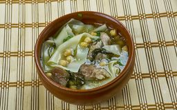 Sulu khingal. Mutton soup with noodles and chickpeas, Azerbaijan cuisine stock image