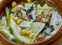 Sulu khingal. Mutton soup with noodles and chickpeas, Azerbaijan cuisine royalty free stock image