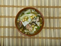 Sulu khingal. Mutton soup with noodles and chickpeas, Azerbaijan cuisine royalty free stock photos